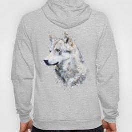 Watercolour grey wolf portrait Hoody