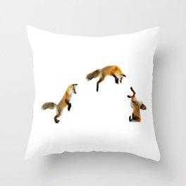 Fox Snow Jump Throw Pillow