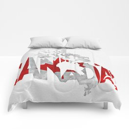 Canada Typographic World Map / Canada Typography Flag Map Art Comforters
