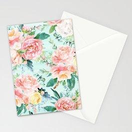 Minty Vintage Floral Stationery Cards