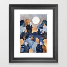 Little Land Of Pebbles - Blue Framed Art Print