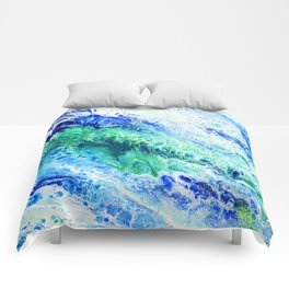 Tides  - Abstract fluid painting Comforters