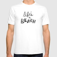 Life's a Beach. White Mens Fitted Tee SMALL