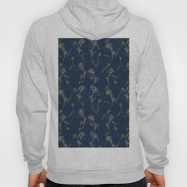 Whimsical wheat and dandelion pattern on french navy Hoody