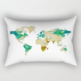 Artistic World Map I Rectangular Pillow