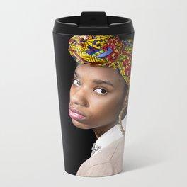 Girl with a Pearl Earring (Recreation) Metal Travel Mug