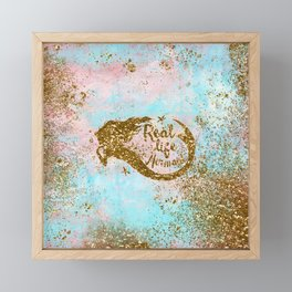 Faux Gold Glitter- REAL LIFE MERMAID On Sea Foam Framed Mini Art Print