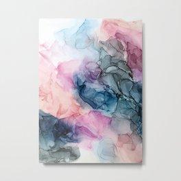 Heavenly Pastels: Original Abstract Ink Painting Metal Print