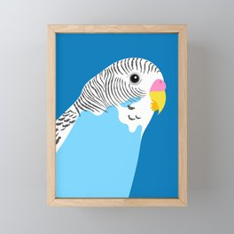 Blue Budgie Framed Mini Art Print