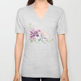 Desert Succulents on White Unisex V-Neck