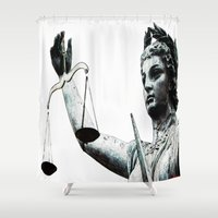 justice Shower Curtains featuring Justice ? by arnedayan