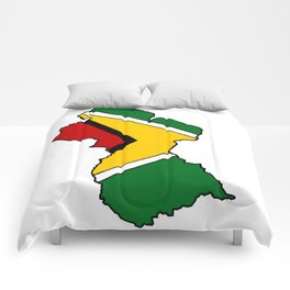 Guyana Map with Guyanese Flag Comforters