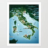 italy Art Prints featuring Italy by Steebz