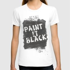 Paint It Black White SMALL Womens Fitted Tee