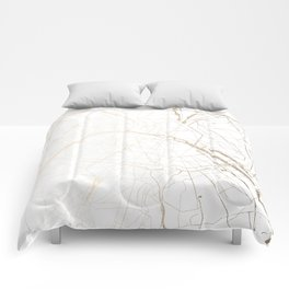 Paris Gold and White Street Map Comforters
