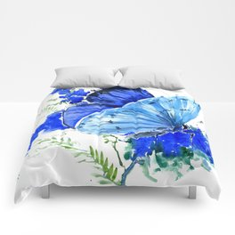 Blue Butterfly, blue butterfly lover blue room design floral nature Comforters