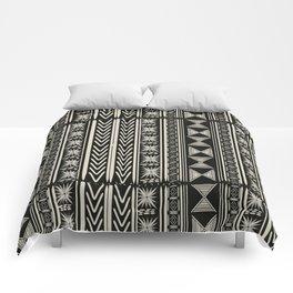 Boho Mud cloth (Black and White) Comforters