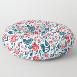 Scandinavian Red Blue Floor Pillow