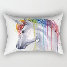 Rainbow Unicorn Watercolor Rectangular Pillow
