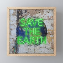 Save the Earth - Neon Framed Mini Art Print