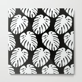 Tropical Palm Leaves in White On Black Background Metal Print