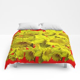 YELLOW SPRING DAFFODILS ON CHINESE RED ART Comforters
