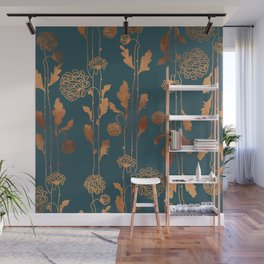 Art Deco Copper Flowers Wall Mural
