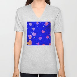 Floating Glitter Fairytale Hearts in Storybook Blue Sky Unisex V-Neck