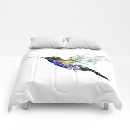 Flying Hummingbird, Blue green wall art minimalist bird Comforters