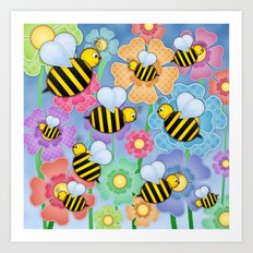 Busy Buzzers. Art Print
