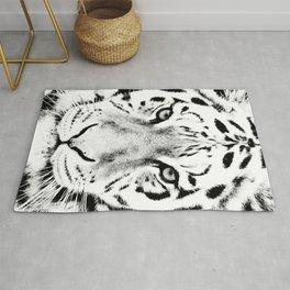 White Tiger Print Rug