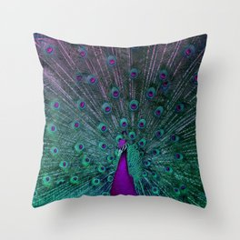 BLOOMING PEACOCK Throw Pillow