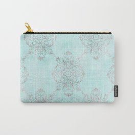 Vintage Teal Damask Carry-All Pouch