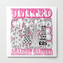 United Against Cancer - Breast Cancer Awareness - Zentangle Women Metal Print