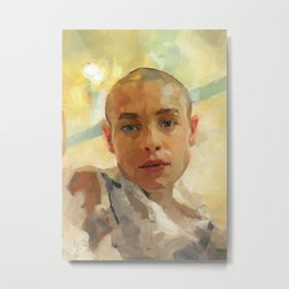Portrait Painting of Bald Person Woman Face in Yellow Purple Green Impressionist Art Metal Print