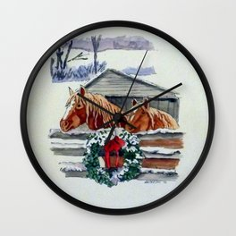 Christmas Ponies Wall Clock