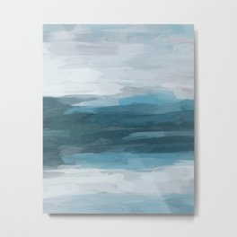 Teal Ocean Blue Gray Abstract Nature Art Painting Metal Print