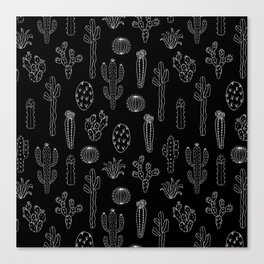 Cactus Silhouette White And Black Canvas Print