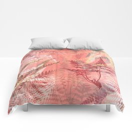 Elegant Coral Gold Fern Leaves Abstract Pattern Comforters