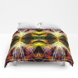 Yellow Bright Rays,Fractal Art Comforters