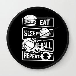 Eat Sleep B-Ball Repeat - Basketball Team Dunk Wall Clock