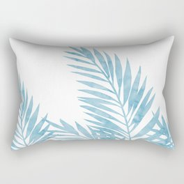 Palm Leaves Light Blue Rectangular Pillow