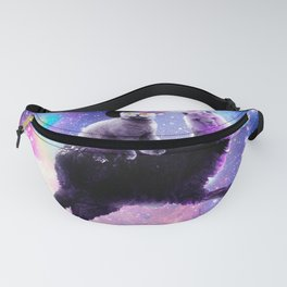 Laser Eyes Outer Space Cat Riding On Llama Unicorn Fanny Pack