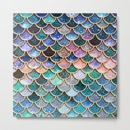 Multicolor Pink And Aqua Mermaid Scales - Beautiful Abstract Glitter Pattern Metal Print