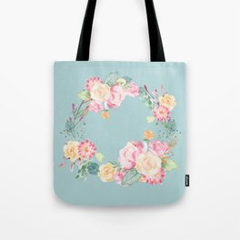 Spring Bouquet Wreath Duck Egg Blue Floral Print Tote Bag