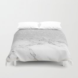 Modern faux grey silver glitter ombre white marble Duvet Cover