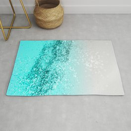 Silver Gray Aqua Teal Ocean Glitter #1 #shiny #decor #art #society6 Rug