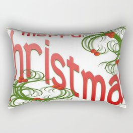Merry Christmas With Stylized Holly With White Background  Rectangular Pillow