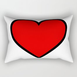 Bold Red Heart Shape Valentine Digital Illustration, Minimal Art Rectangular Pillow
