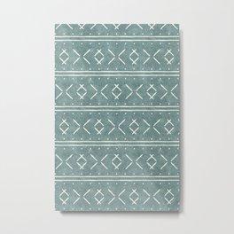 mud cloth stitch - dusty blue Metal Print